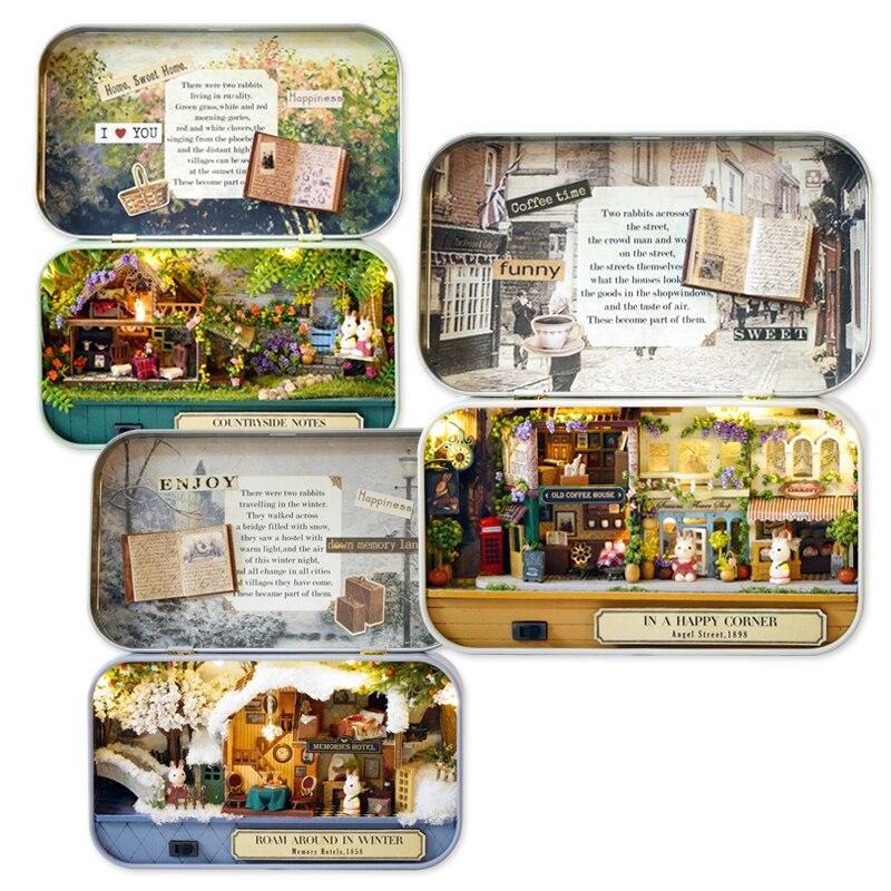 Миниатюрный DIY Кукольный дом деревянные миниатюрные кукольные домики мебельная коробка театральный сборный комплект ручной работы модель Кукольный домик игрушки Наборы q4