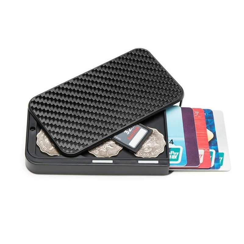 Bisi Goro 2020 Carbon Fiber Smart Portemonnee Rfid Blokkeren Geld Tas Beveiliging Aluminium Kaarthouder Cartera Portemonnee Dropshipping