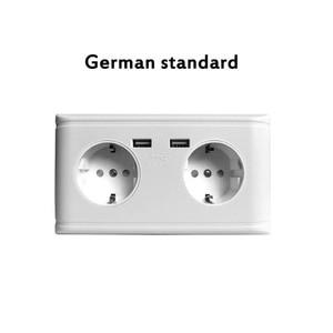 Image 2 - USB הכפול יציאת חשמל קיר מטען מתאם כוח שקע גרמנית/צרפתית 2AC לשקע פנל צלחת שקע