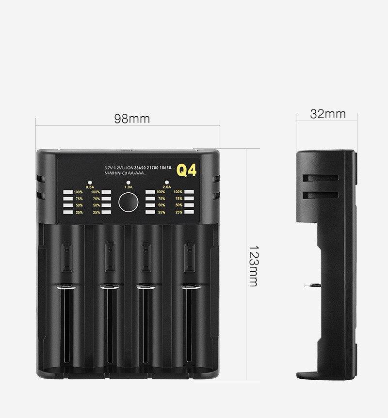Carregador de bateria para 18650 26650 21700