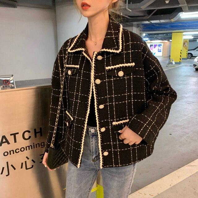 Tweed Wolle Winter Plaid Frauen Blazer 2019 NEUE Fashion runway büro Damen Jacken Mäntel lose oversize Beiläufige Dünne Blazer 0090