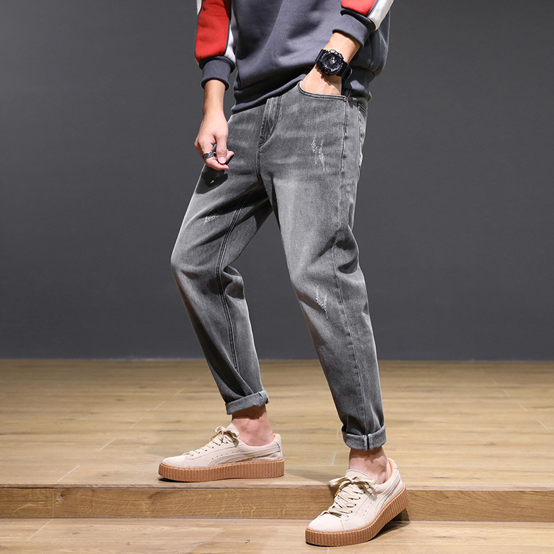 Japanese-style Trend MEN'S Jeans Korean-style Elasticity Loose Retro Gray Washing Youth Harem Casual Long Pants