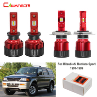 Cawanerl 4 X Car 60W LED Bulb Headlight Hi/Lo Beam Fog Light White 9000LM H3 H4 12V For Mitsubishi Montero Sport 1997 1998 1999