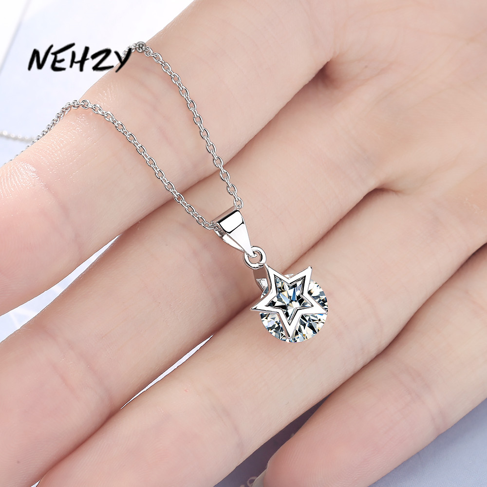 NEHZY 925 sterling silver new woman fashion jewelry high quality crystal zircon five-pointed star pendant necklace length 45cm