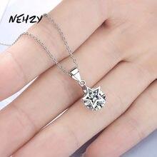 NEHZY 925 de plata esterlina mujer nueva moda de alta calidad de joyería de circón de cristal de cinco puntas de la estrella colgante, collar de longitud 45cm