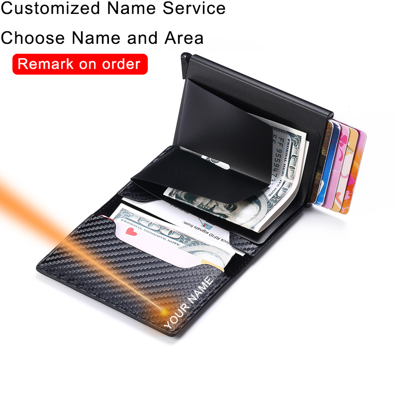 Customize Rfid Carbon Fiber Men Wallets Money Bags Card Holder Black Trifold Leather Slim Mini Magic Wallet Personalized Vallet