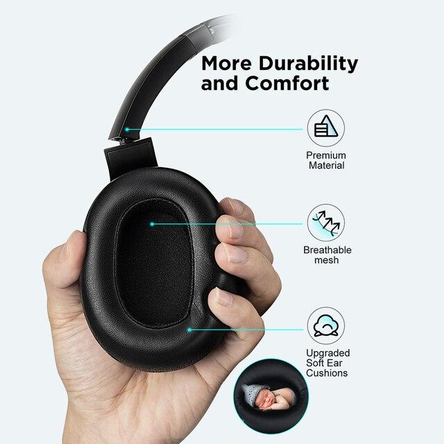 Cowin e9 active noise cancelling fones de ouvido bluetooth sem fio fone sobre a orelha com microfone aptx hd som 6
