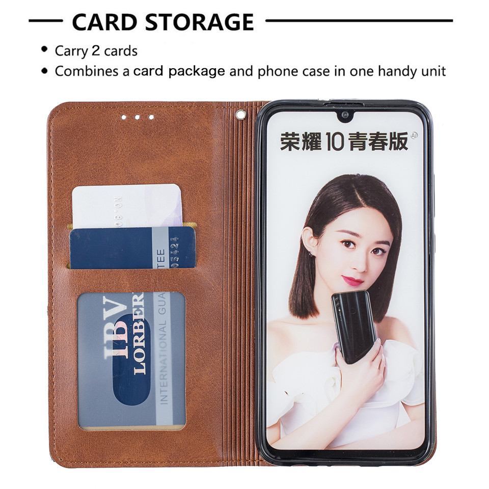 H6c008107dae447e9859b28369621b97bd For Huawei Honor 10 Lite Case Leather Wallet Flip Cover Soft Silicone Case for Honor 10i 9X 8A 8S Magnetic Case Card Holder