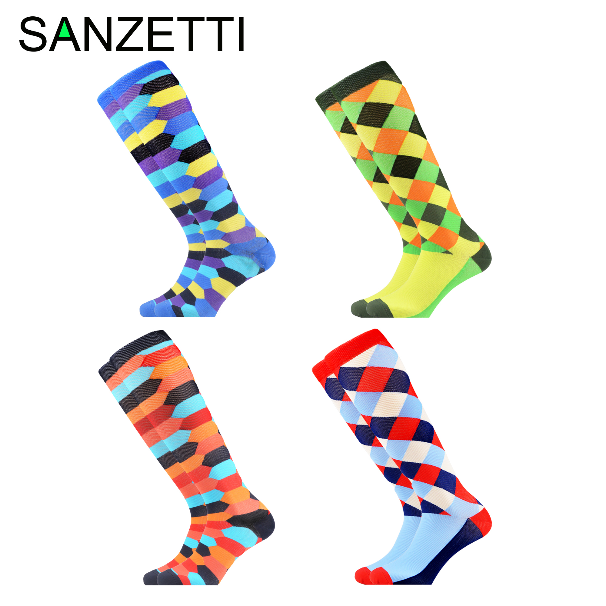 SANZETTI 4 Pairs/Lot Women Happy Socks Combed Cotton Compression Socks Striped Below Knee Anti-Fatigue Long Colorful Socks
