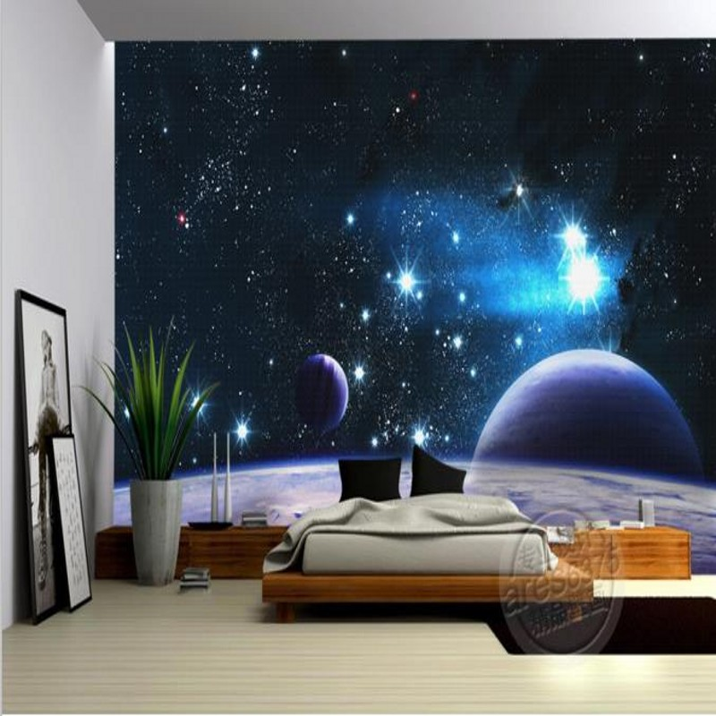 Dropship Mural 3D Custom Stereo Wallpaper KTV Box Ceiling Bar Living Room Large Outer Space Wallpaper Mural Wallpaper 3d