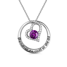 Strollgirl Personalized 925 Sterling Silver Customized BirthStone Heart Necklace Engraved Name Pendant Chain Valentine Day Gifts u7 100% 925 sterling silver heart shape engraved personalized custom photo pendant necklace mother s day gifts for lovers sc83