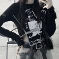 Женская футболка с длинным рукавом, короткая облегающая футболка в готическом стиле Харадзюку с высокой талией, черного цвета, весна-лето ...