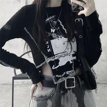 Preto escuro harajuku gótico t shirt das mulheres de cintura alta curto umbigo magro ajuste manga longa camiseta feminino 2021 primavera verão bottoming