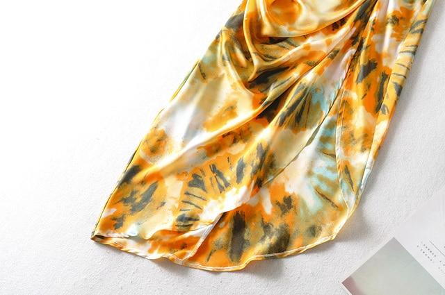 2020 Women Vintage Yellow Tie dye Flower print  Spaghetti Strap Dress Hem Slim Waist Slit Irregular Long Dresses Sling Vestido 5
