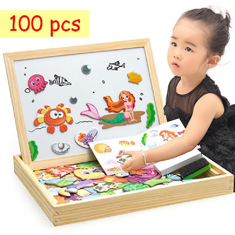 Wooden Magnetic Jigsaw Game Montessori Educational Toy Gift 100+pcs Children's Magnetic Animal Puzzles Circus Drawing Board
