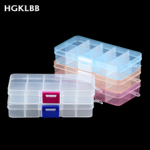 HGKLBB Adjustable 10 Slots Plastic Storage Box packaging transparent Tool Case Jewelry box Organizer Earrings Rings Gift Boxes