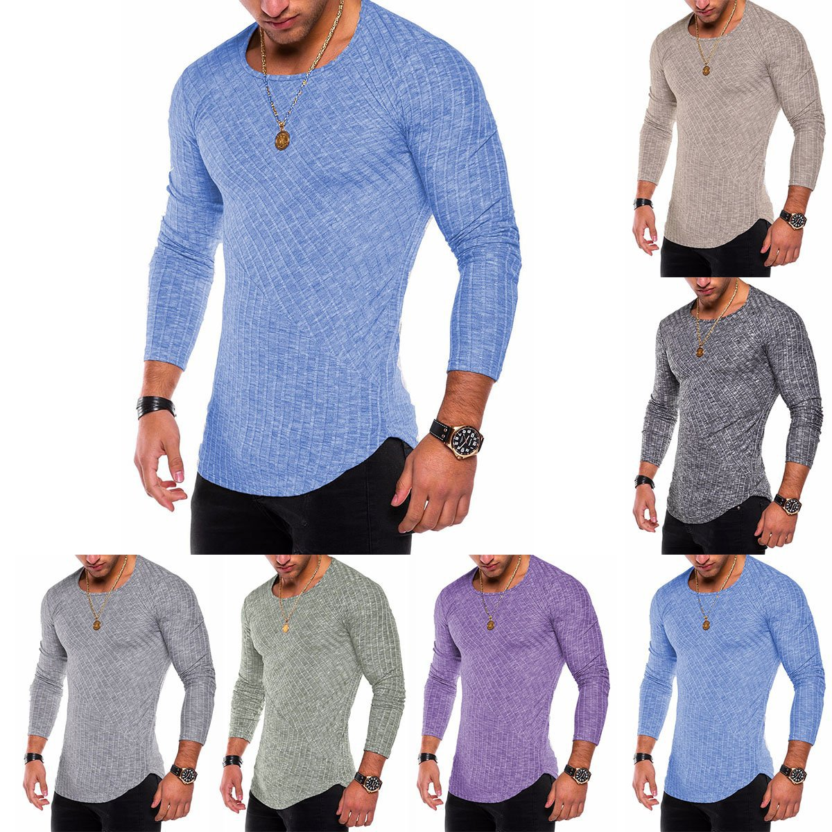 Casual Long Sleeve T Shirt Men Slim Fit Tshirts Solid Plus Size T Shirts Mens Comfortable Tops Spring And Autumn Clothes S-4XL