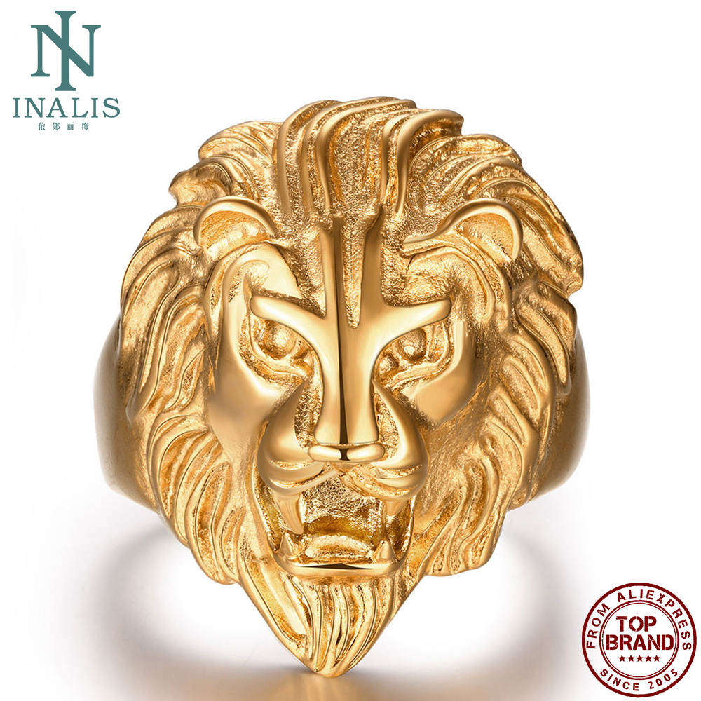 INALIS Stainless Steel Rings For Men Gold Lion Anaglyph Punk Style Ring Unique Hot Selling Male Fashion Jewelry Boyfriend Gift