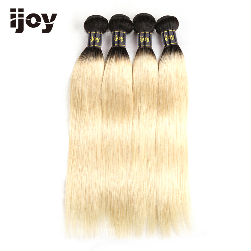 Image 4 - 【IJOY】Straight 8'' 26'' High Ratio Brazilian Non Remy Platinum Blonde Ombre Bundles 100% Human Hair Extensions 4 Bundle Pack-in 3/4 Bundles from Hair Extensions & Wigs