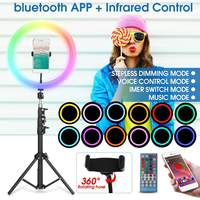 13'' RGB Colorful LED Ring Light bluetooth Selfie Photography Lamp For Phone Makeup Youtube Live 1.4m Height adjustable Tripod