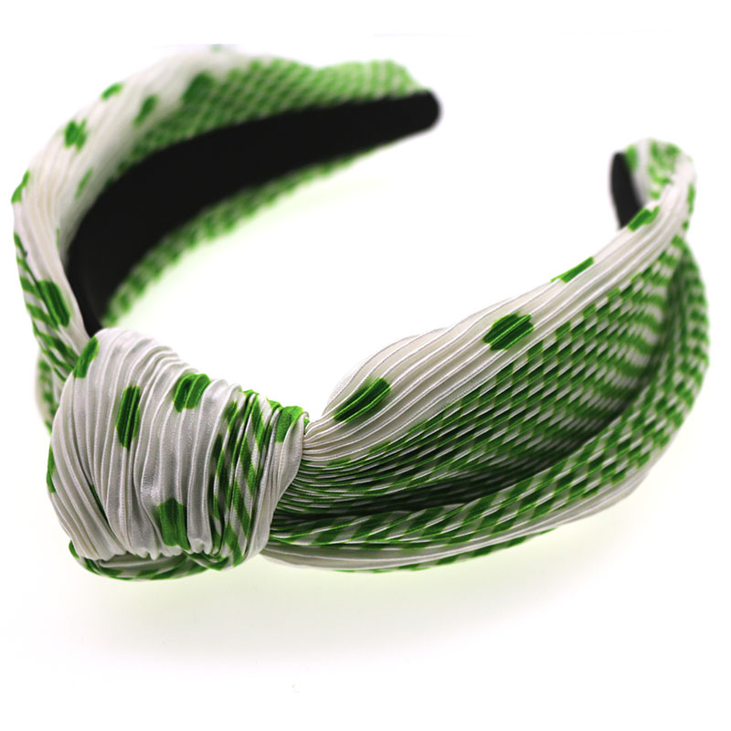 Spring Pleated Dot Pattern Knot Hairband Knotted Headband Customized Hair Accessories