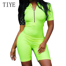 TIYE  Women Bodycon Zipper Romper Playsuits Sexy Stand Neck Short Sleeve Hollow Out Jumpsuits Summer Casual Wear Plus Size XXL