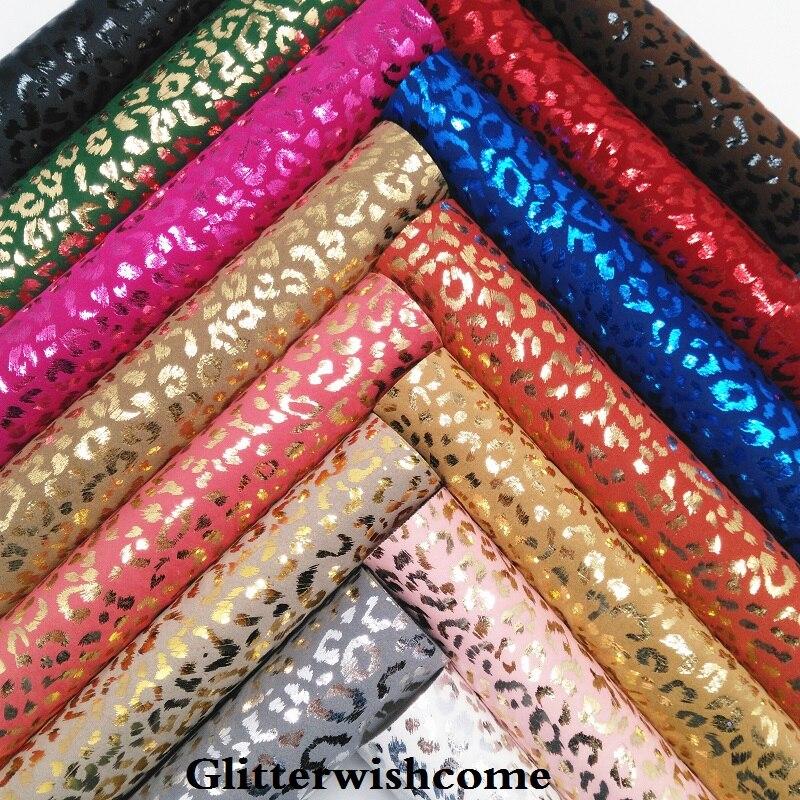 Glitterwishcome 21x29cm a4 tamanho vinil para lazos, folhas de couro do falso, tecido de couro do falso do leopardo impresso para arcos, gm147a