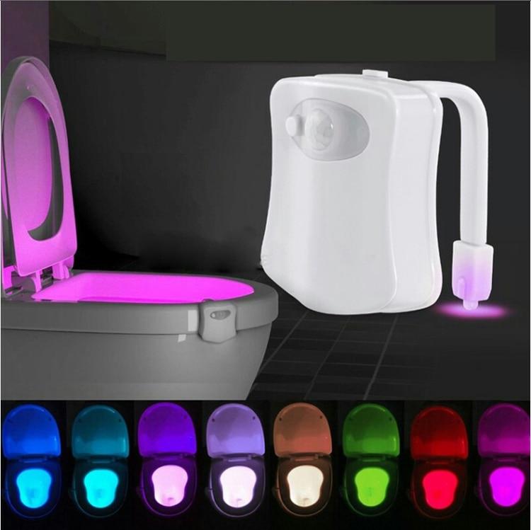 Toilet Light Smart PIR Motion Sensor Toilet Seat Night Light 8 Colors Waterproof Backlight For Toilet Bowl LED Luminaria Lamp