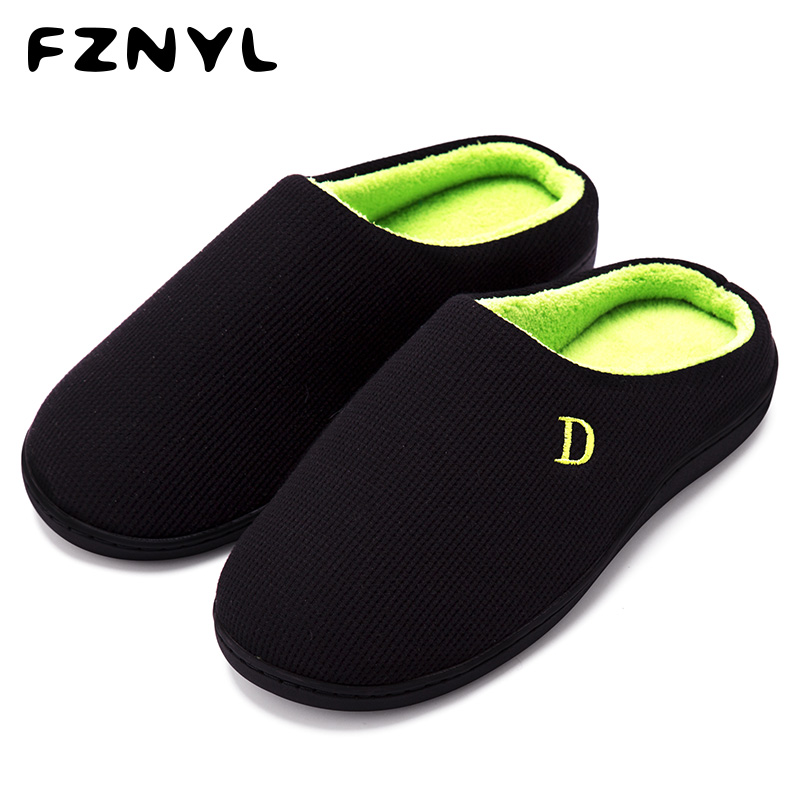 FZNYL Winter Warm Home Slippers Cotton Rubber Non-slip House Indoor Bedroom Slides Male Hotel Casual Shoes Men Women Size 38-45