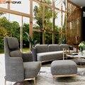 Moderne italie loisirs tissu velours salon simple canapé chaise avec tabouret