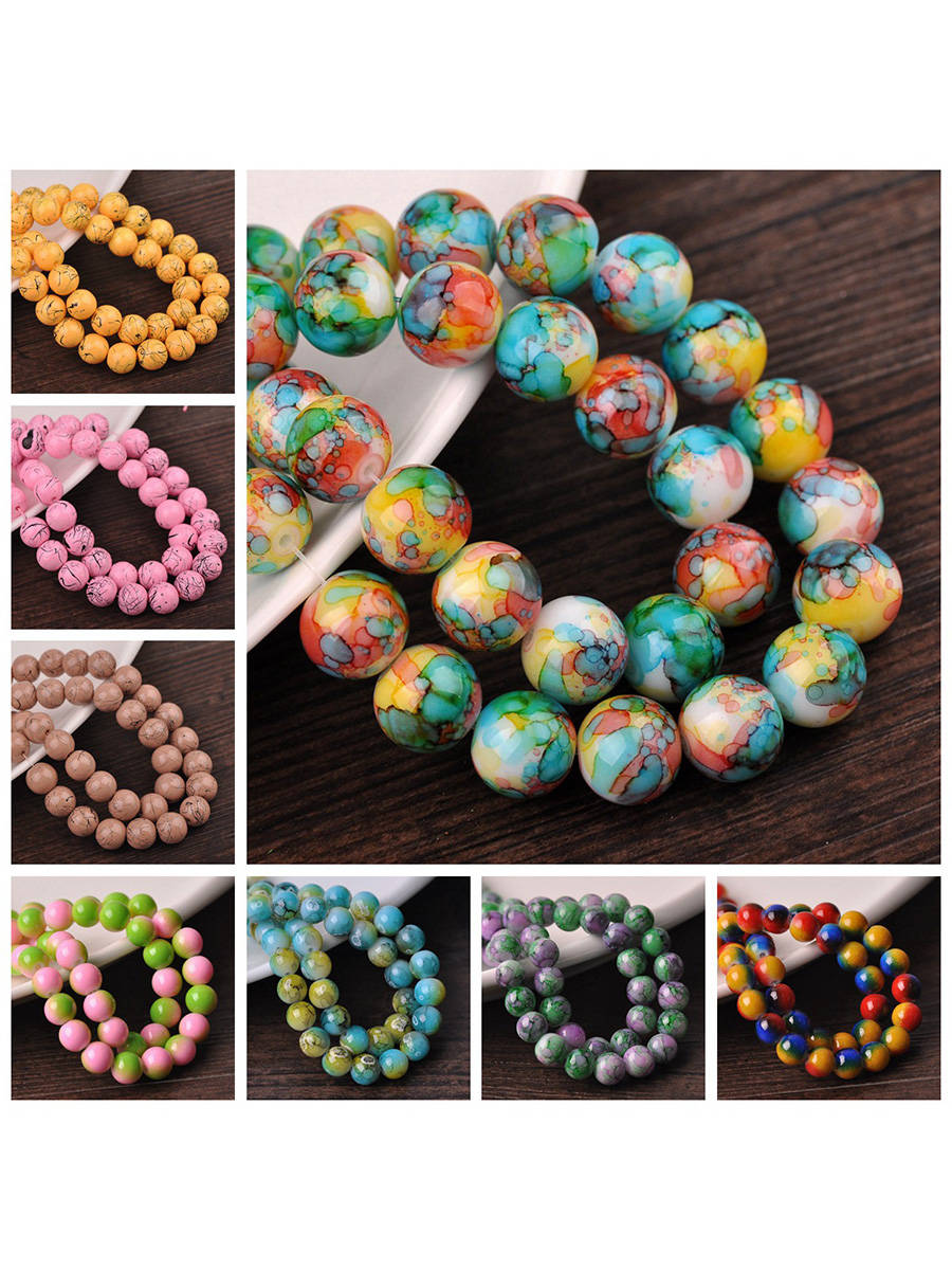 30pcs 8mm Round Patterns Coated Opaque Glass Loose Spacer Crafts Beads lot for Jewelry