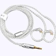 TFZ 3.5mm/4.4mm כדי 2 פין 0.78mm אוזניות שדרוג כבל כסף מצופה גביש יחיד נחושת כסף רדיד מאוזן כבל