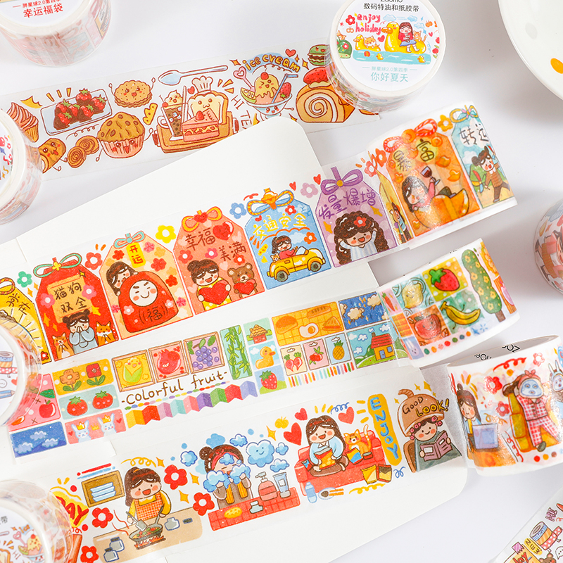 12PCS/LOT Fat Planet Series Hand Painted Cute Lovely Decorative Paper Masking Washi Tape