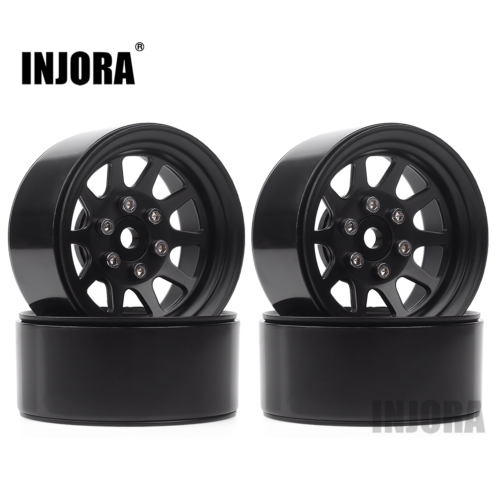INJORA 107g/pcs Metal Alloy 1.9 Beadlock Wheel Rims For 1:10 RC Crawler Axial SCX10 90046 Traxxas TRX4 Redcat GEN8