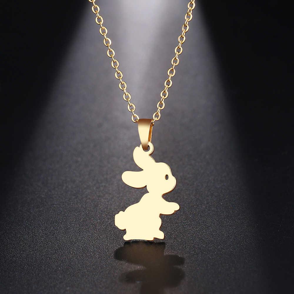DOTIFI naszyjnik ze stali nierdzewnej dla kobiet Man Cute Bunny Rabbit Choker naszyjnik biżuteria zaręczynowa