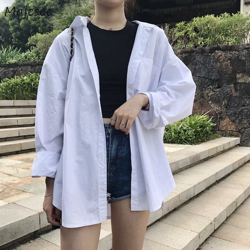 White Bouse Women Shirts Plus Size Korean Fashion Clothing Womens Tops and Blouses Ladies Long Sleeve Top Casual Classic Shirt