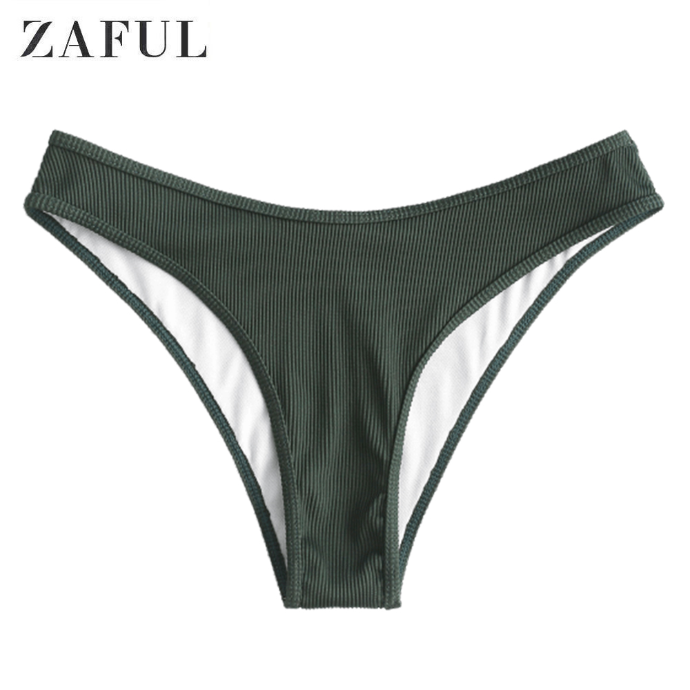 ZAFUL Piping Textured Ribbed High Leg Bikini Bottom High Cut Middle Waist Swimsuit Bottom 2020 New Solid Bathing Suit Bottom