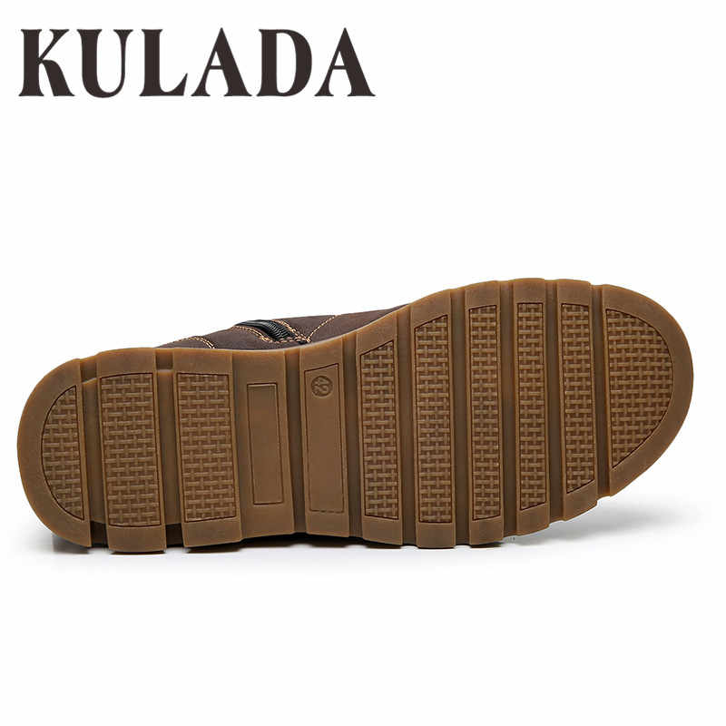 KULADA Laarzen Mannen Winter Schoenen Super Warm Hoge Kwaliteit Lederen Schoenen Leisure Slip Laarzen Retro Mannen Lace Up Sneaker laarzen