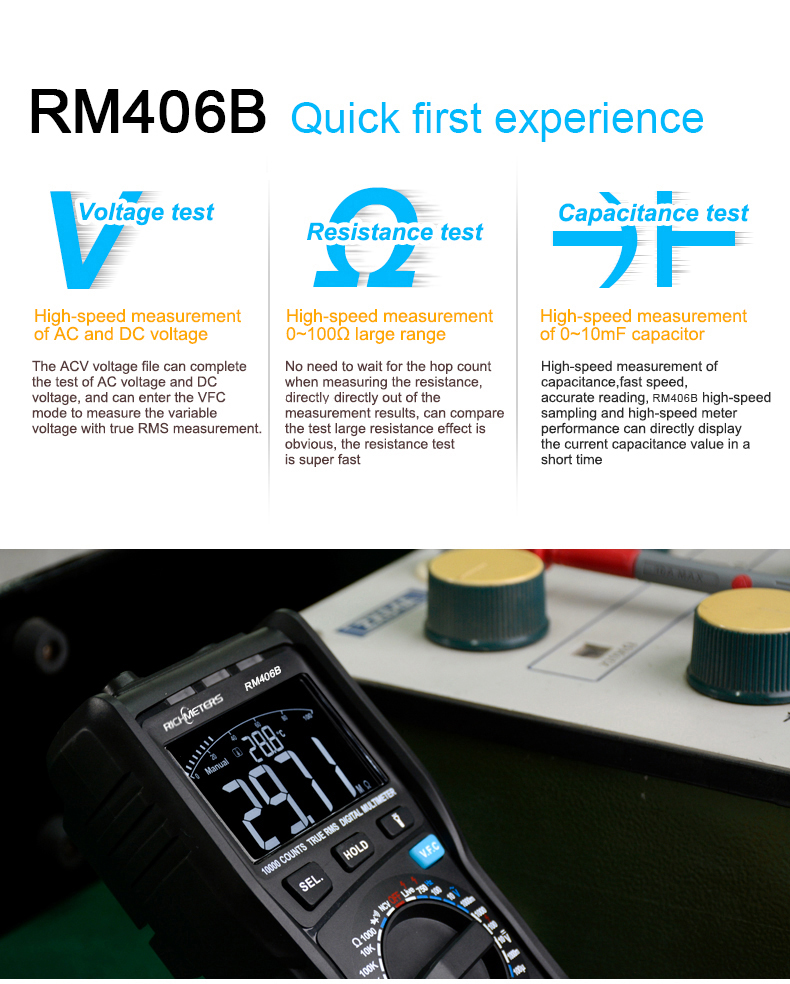 RM406B Digital Multimeter with 10000 Counts and Anti Burn Alarm for AC Voltage and Current Frequency Test 9