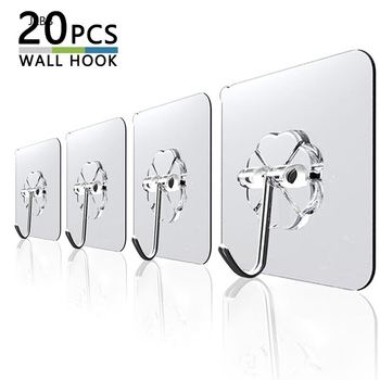 20Pcs 6x6cm Transparent Strong Self Adhesive Door Wall Hangers Hooks Suction Heavy Load Rack Cup Sucker for Kitchen Bathroom image