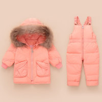 Baby Girls Clothing Set 0 24 Monthes Winter White Duck Down Clothing Sets Warm Baby Girl Overalls Boys Kids Jacket+ Pants