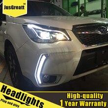 Led Koplampen Voor Subaru Forester 2012 2014 Led dagrijverlichting Dynamische Signaal Bi Xenon Lage/Hoge beam 1 Paar