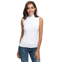 Womens Sleeveless Shirts Solid Color high neck top Female Slim Fit Turtleneck Te