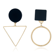 FSUNION 2019 New Brand Punk Fashion Triangle Round Geometric Asymmetric Black Earrings For Women pendientes brincos