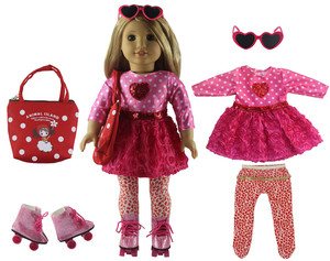 Image 3 - New 1 Set Pink Dress Doll Clothes for 18 American Bitty Baby Doll Handmade Fashion Lovely Clothes X89