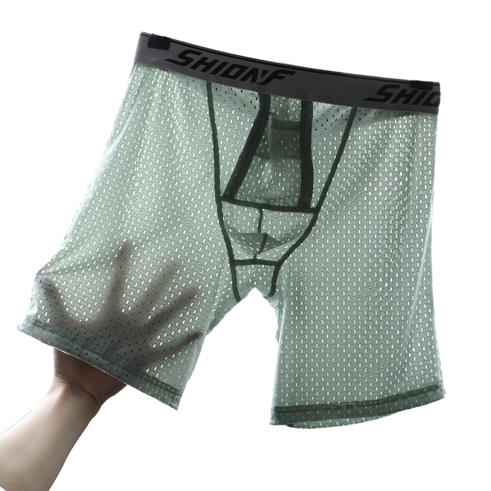 Men Ice Silk Underwear Long Leg Boxer Trunk Sport Breathable Bulge Pouch Briefs