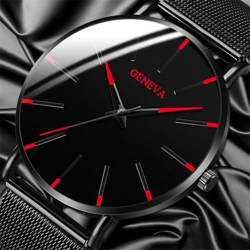 Luxury Fashion Mens Minimalist Watches Ultra Thin Black Stainless Steel Mesh Band Watch Men Business Casual Analog Quartz Clock