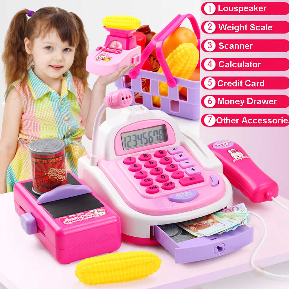Multi-Function Electronic Cash Register Supermarket Checkout Counter Kids Pretend Play Shopping Cart Toys For Children Gifts