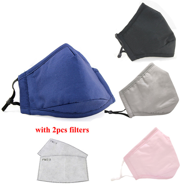 PM2.5 Black Mouth Face Mask Reusable Anti Dust Face Masks Activated Carbon Filter Windproof Mouth-muffle Bacteria Anti Flu Mask 1