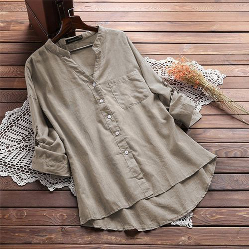 Blouse Women Casual Solid V Neck Blouse Cotton Linen Autumn Female Tops Long Sleeve V Neck Blouses Office Lady White Black Hc